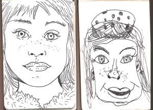 I draw Miranda, Miranda draws me
